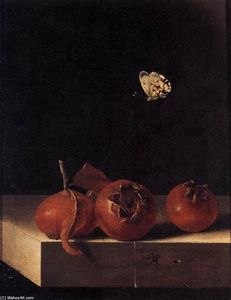 Adriaen Coorte - Three Medlars with a Butterfly