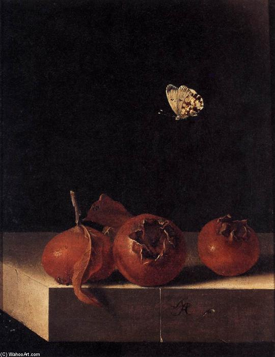 Three Medlars with a Butterfly, Oil On Panel by Adriaen Coorte (1665-1707, Netherlands)