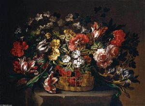 Gabriel De La Corte - Flowers in a Basket