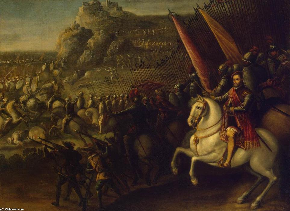 Battle, Oil On Canvas by Juan De La Corte (1597-1660, Spain)