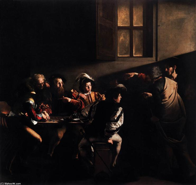 The Calling of Saint Matthew, 1599 by Caravaggio (Michelangelo Merisi) (1571-1610, Spain) | Museum Art Reproductions Caravaggio (Michelangelo Merisi) | ArtsDot.com