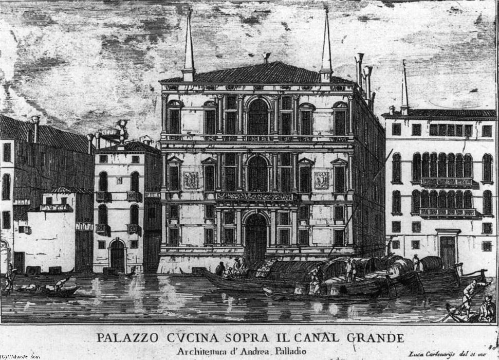 Palazzo Coccina on the Grand Canal, Etching by Luca Carlevaris (1663-1730, Italy)