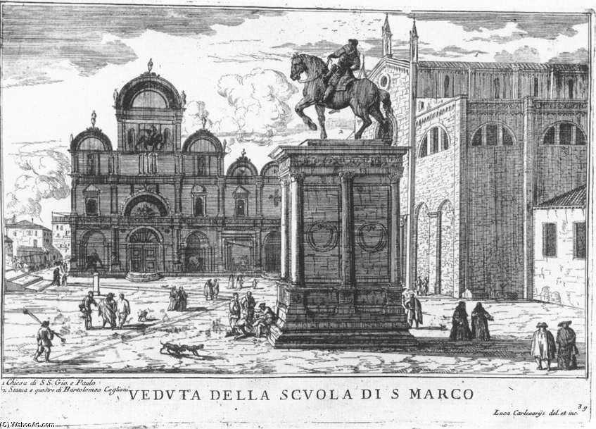 Santi Giovanni e Paolo and the Scuola di San Marco, Etching by Luca Carlevaris (1663-1730, Italy)