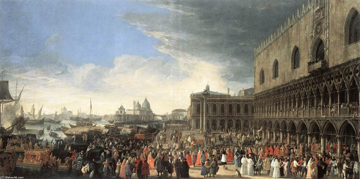 The Reception of Cardinal César d'Estrées, Oil On Canvas by Luca Carlevaris (1663-1730, Italy)