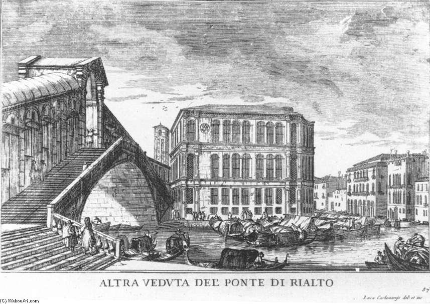 The Rialto Bridge, Etching by Luca Carlevaris (1663-1730, Italy)