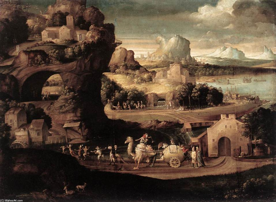 Landscape with Magicians, Oil On Canvas by Girolamo Da Carpi (1501-1556, Italy)