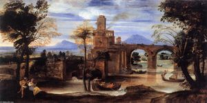 Annibale Carracci - Roman River Landscape with Castle and Bridge