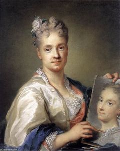Rosalba Carriera - Self-Portrait Holding a Portra..