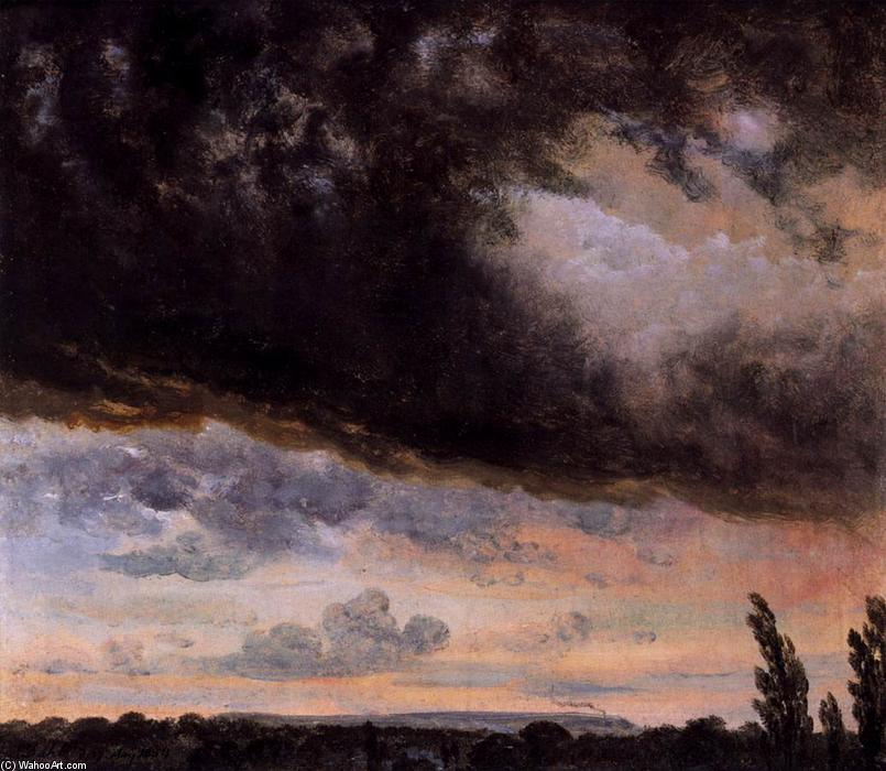 Cloud Study with Horizon, Oil by Johan Christian Clausen Dahl (1788-1857, Norway)