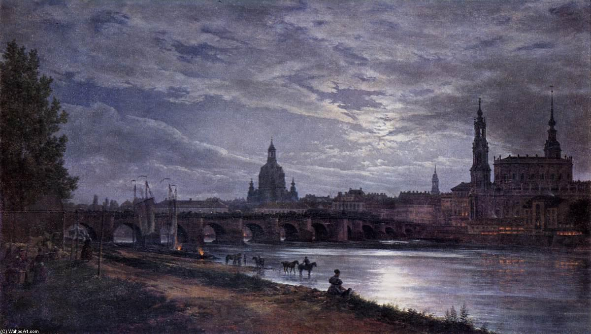 View of Dresden at Full Moon, Oil On Canvas by Johan Christian Clausen Dahl (1788-1857, Denmark-Norway)