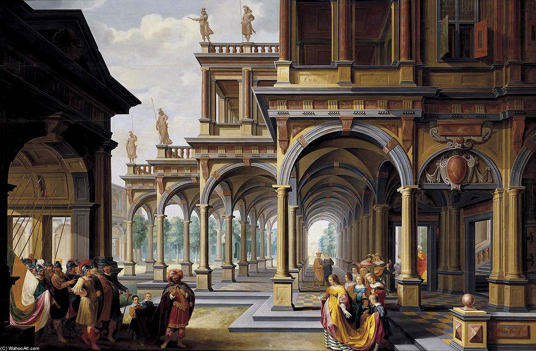 Architectural Capriccio with Jephthah and His Daughter, Oil On Panel by Dirck Van Delen (1605-1671, Netherlands)