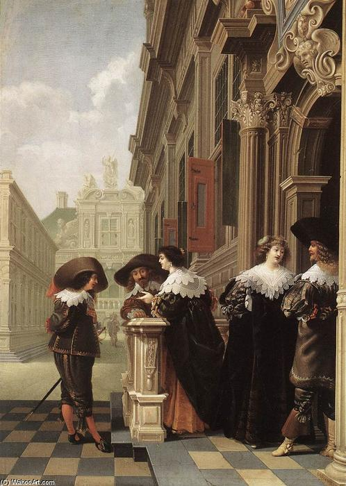 Conversation outside a Castle, Oil On Panel by Dirck Van Delen (1605-1671, Netherlands)