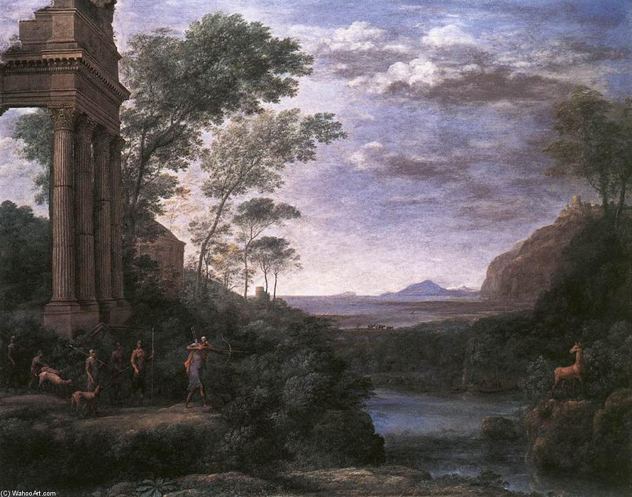 Landscape with Ascanius Shooting the Stag of Sylvia, Oil On Canvas by Claude Lorrain (Claude Gellée)