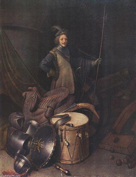 Officer of the Marksman Society in Leiden, Oil by Gerrit (Gérard) Dou (1613-1675, Netherlands)