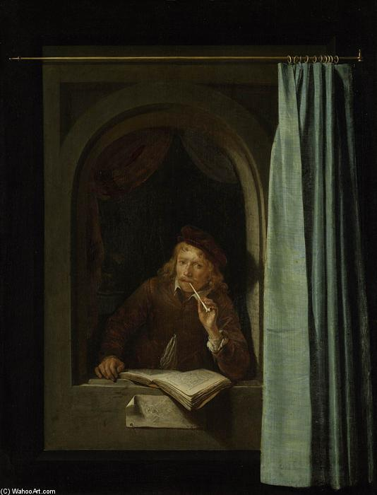Self-Portrait, Oil On Panel by Gerrit Dou (1613-1675, Netherlands)