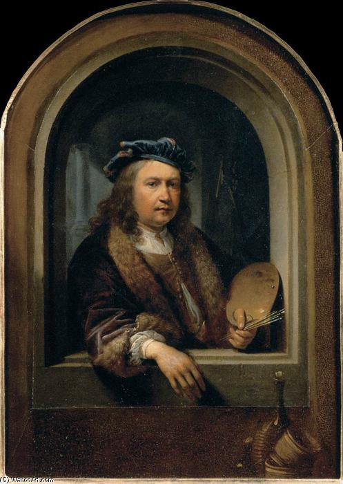 Self-Portrait with a Palette, in a Niche, Oil by Gerrit (Gérard) Dou (1613-1675, Netherlands)