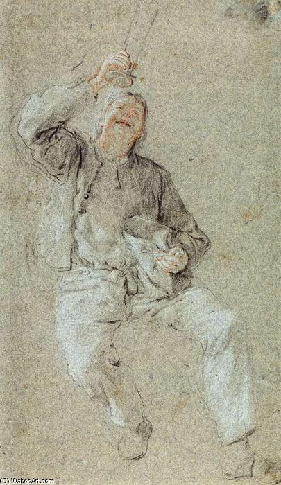 Young Man with a Raised Glass, Chalk by Cornelis Dusart (1660-1704, Netherlands)