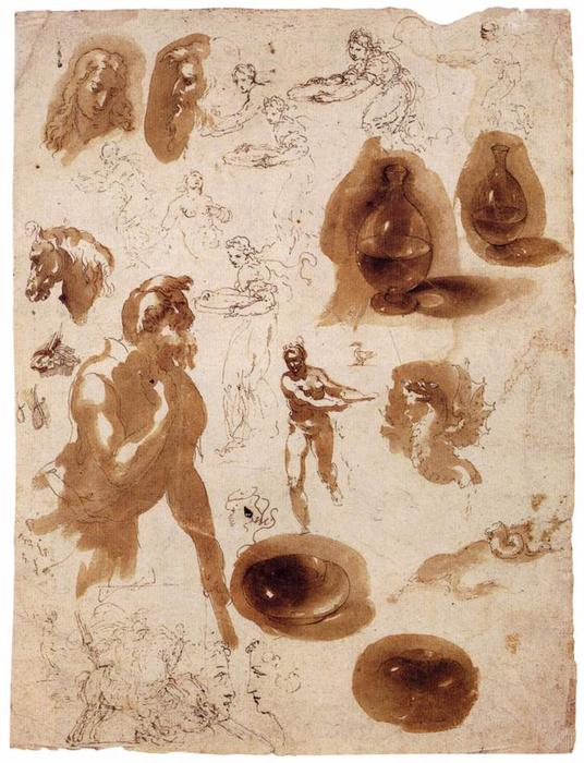 Sheet of studies by Giovanni Ambrogio Figino (1553-1608, Italy) | Oil Painting | ArtsDot.com