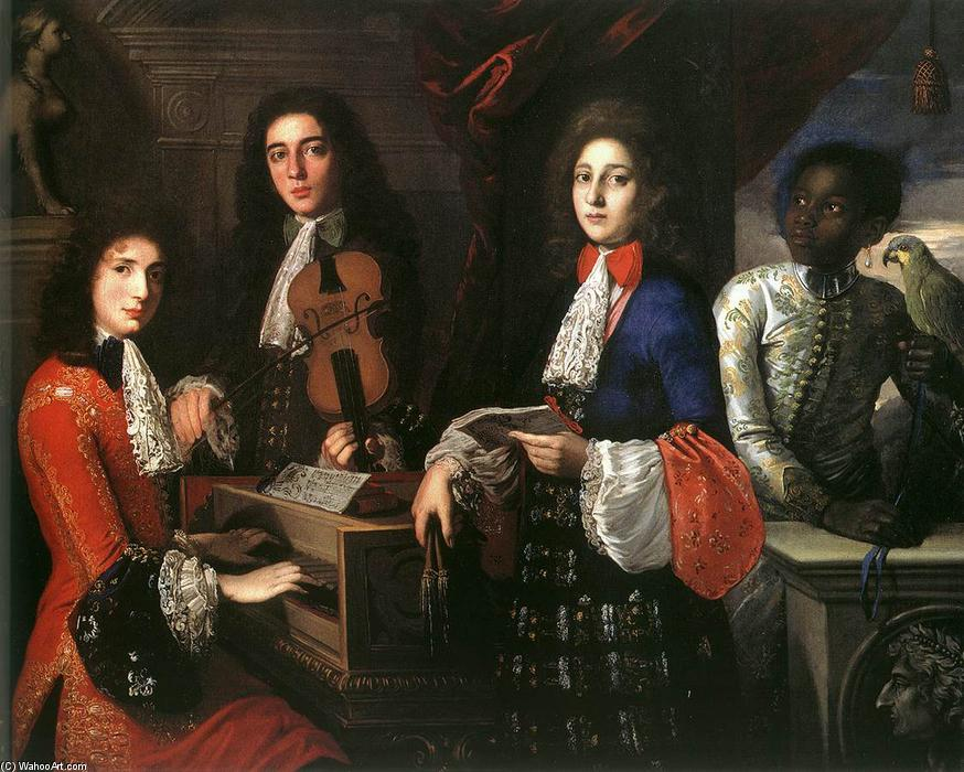 Portrait of Three Musicians of the Medici Court, Oil On Canvas by Anton Domenico Gabbiani (1652-1726, Italy)