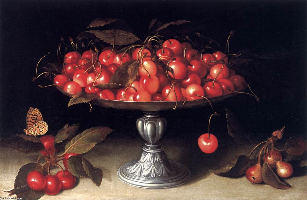 Cherries in a Silver Compote, Oil On Panel by Fede Galizia (1578-1630, Italy)