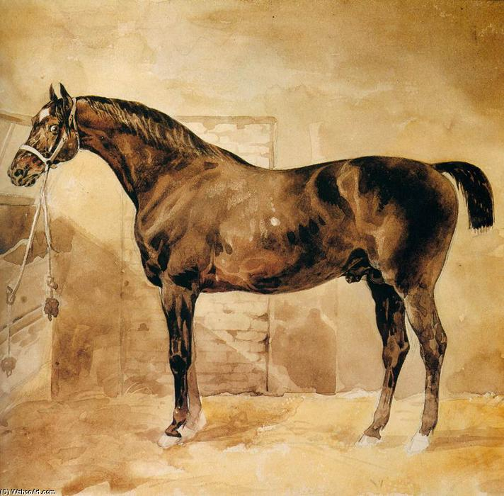 Order Museum Quality Reproductions : English Horse in Stable, 1810 by Jean-Louis André Théodore Géricault (1791-1824, France) | ArtsDot.com