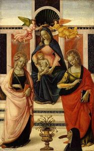 Davide Ghirlandaio - Virgin and Child Enthroned between St Ursula and St Catherine