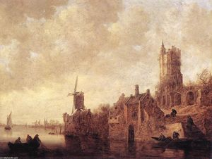 Jan Van Goyen - River Landscape with a Wi..