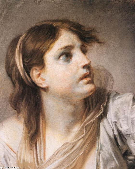 Order Museum Quality Reproductions : Fear, Expression Head by Jean-Baptiste Greuze (1725-1805, France) | ArtsDot.com