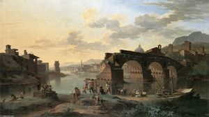 Jacob De Heusch - River View with the Ponte..