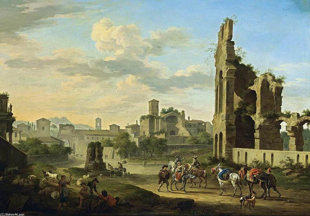 Rome: A View of the Forum Romanum, Oil On Canvas by Jacob De Heusch (1656-1701, Netherlands)