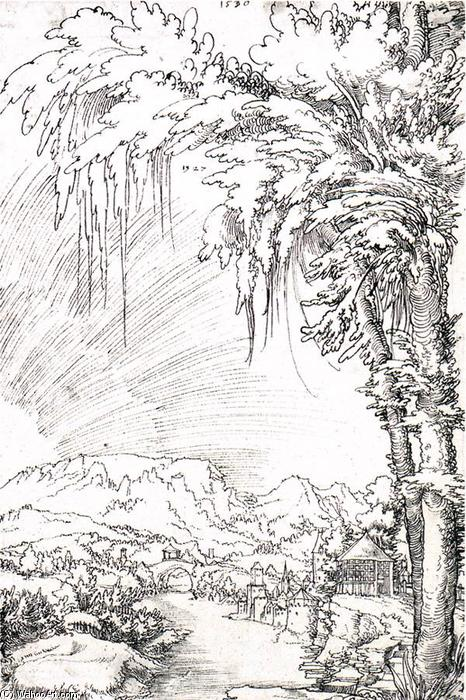 Landscape near Feldkirch, Drawing by Wolf Huber (1490-1553, Austria)