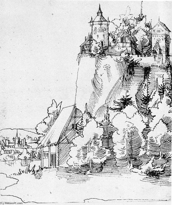 Landscape with Castle, Ink by Wolf Huber (1490-1553, Austria)