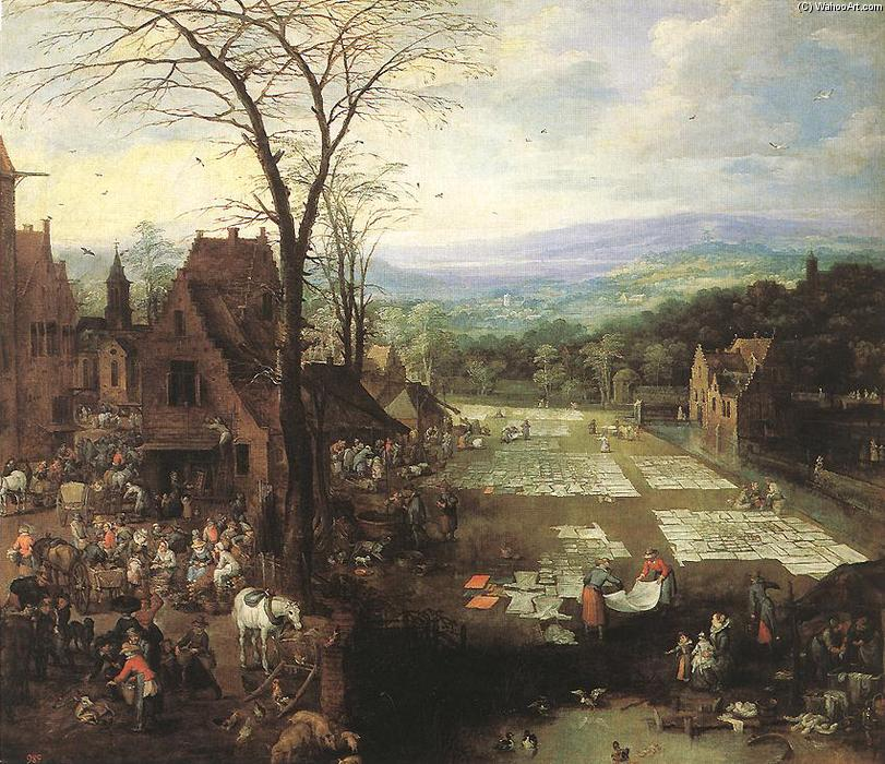 Flemish Market and Washing Place by Joos De Momper (1564-1635, Belgium) | Painting Copy | ArtsDot.com
