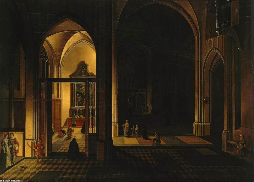 Interior of a Gothic Church, Oil On Panel by Peeter The Elder Neeffs (1578-1656, Belgium)