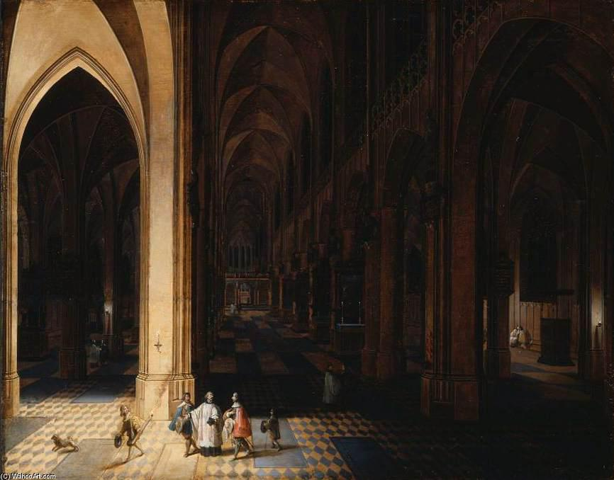 Interior of Antwerp Cathedral at Night, Oil On Panel by Peeter The Elder Neeffs (1578-1656, Belgium)
