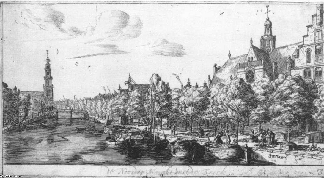 The Prinsengracht and the Noorderkerk at Amsterdam, Etching by Reiner Nooms (1623-1667, Netherlands)