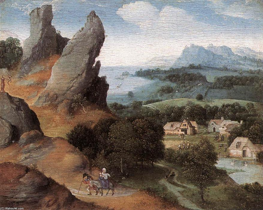 Landscape with the Flight into Egypt, Oil On Panel by Joachim Patenier (1481-1524, Belgium)