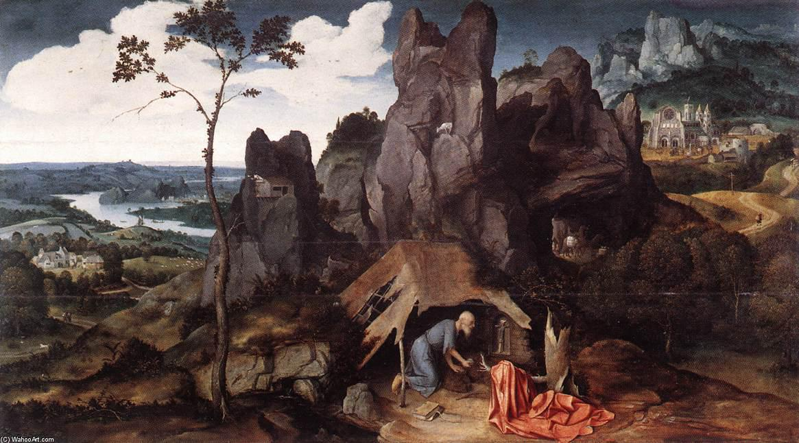 St Jerome in the Desert, Oil by Joachim Patenier (1481-1524, Belgium)