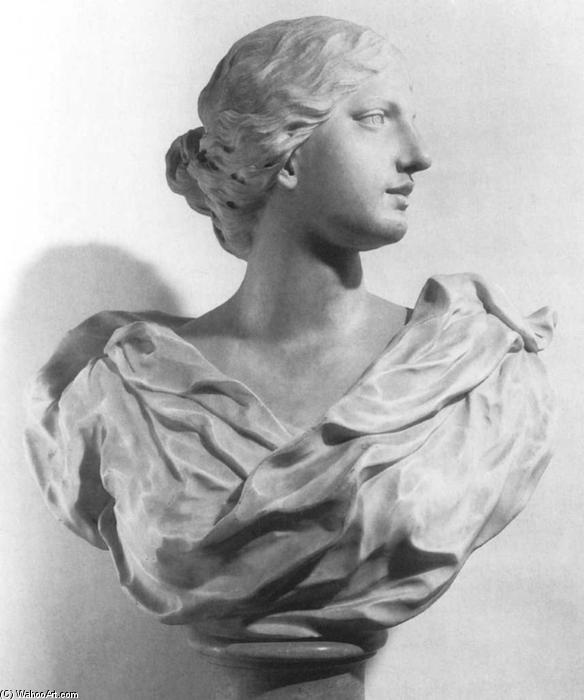 Bust of a Woman, Marble by Giuseppe Piamontini (1664-1742, Italy)