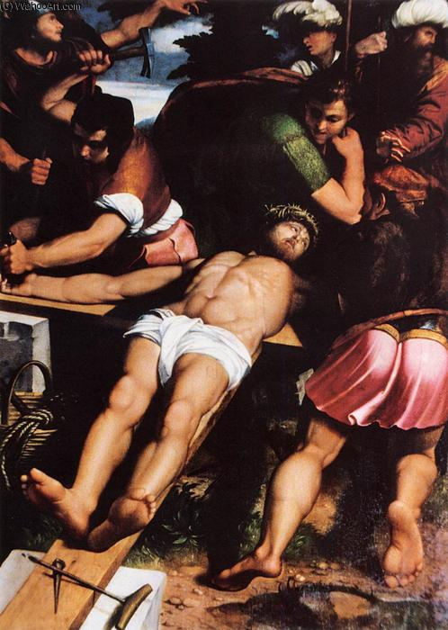 Nailing of Christ to the Cross, Oil On Panel by Callisto Piazza Da Lodi (1500-1561, Italy)