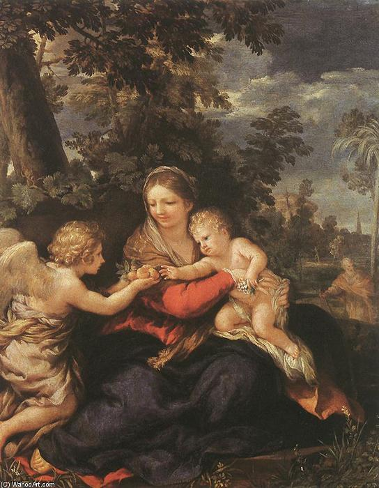 Holy Family Resting on the Flight to Egypt, Oil On Copper by Pietro Da Cortona (1596-1669, Italy)