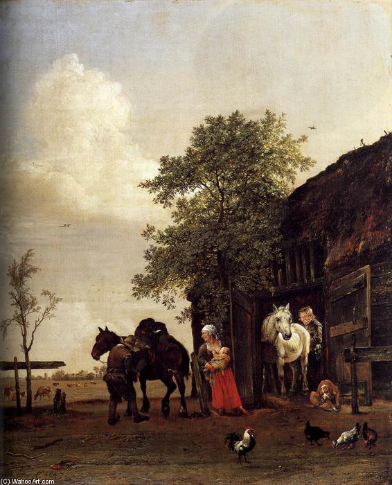 Figures with Horses by a Stable, 1647 by Paulus Potter (1625-1654, Netherlands) | Museum Art Reproductions | ArtsDot.com