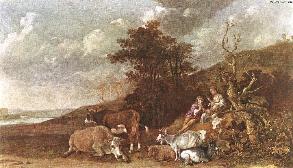 Landscape with Shepherdess and Shepherd Playing Flute, 1642 by Paulus Potter (1625-1654, Netherlands) | ArtsDot.com