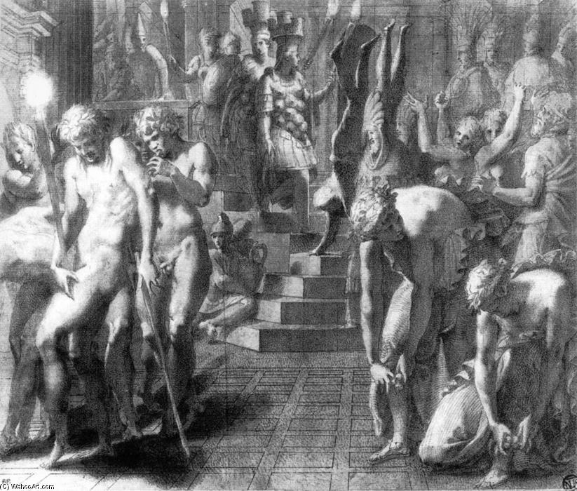 The Masquerade of Persepolis, Drawing by Francesco Primaticcio (1504-1570, Italy)