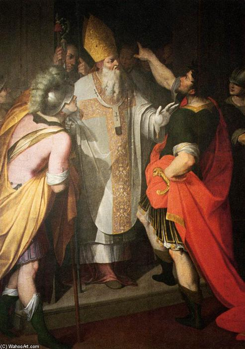 St Ambrose Stopping Theodosius, Oil On Canvas by Camillo Procaccini (1551-1629, Italy)