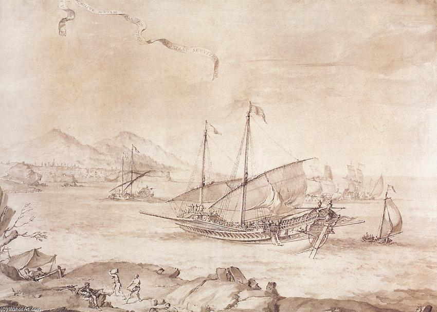 Ship at Marseille, Pen by Pierre Puget (1620-1694, France)