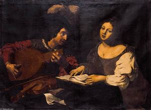 Nicolas Régnier - A Musician Playing a Lute to a..