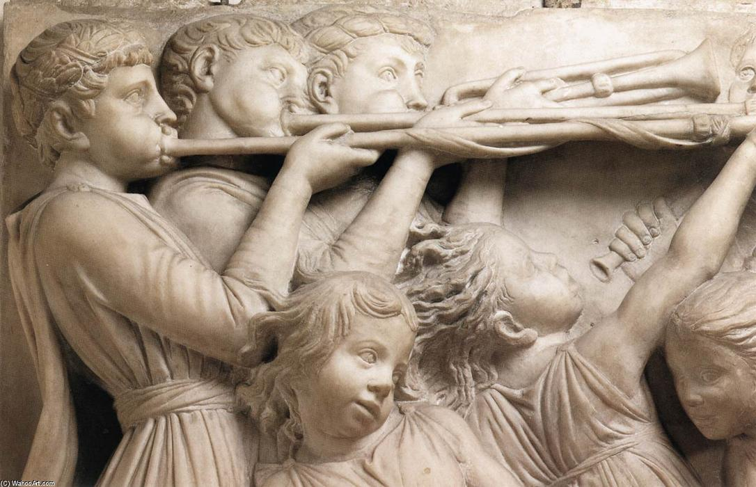 Cantoria: first top relief (detail), Marble by Luca Della Robbia (1399-1483, Italy)
