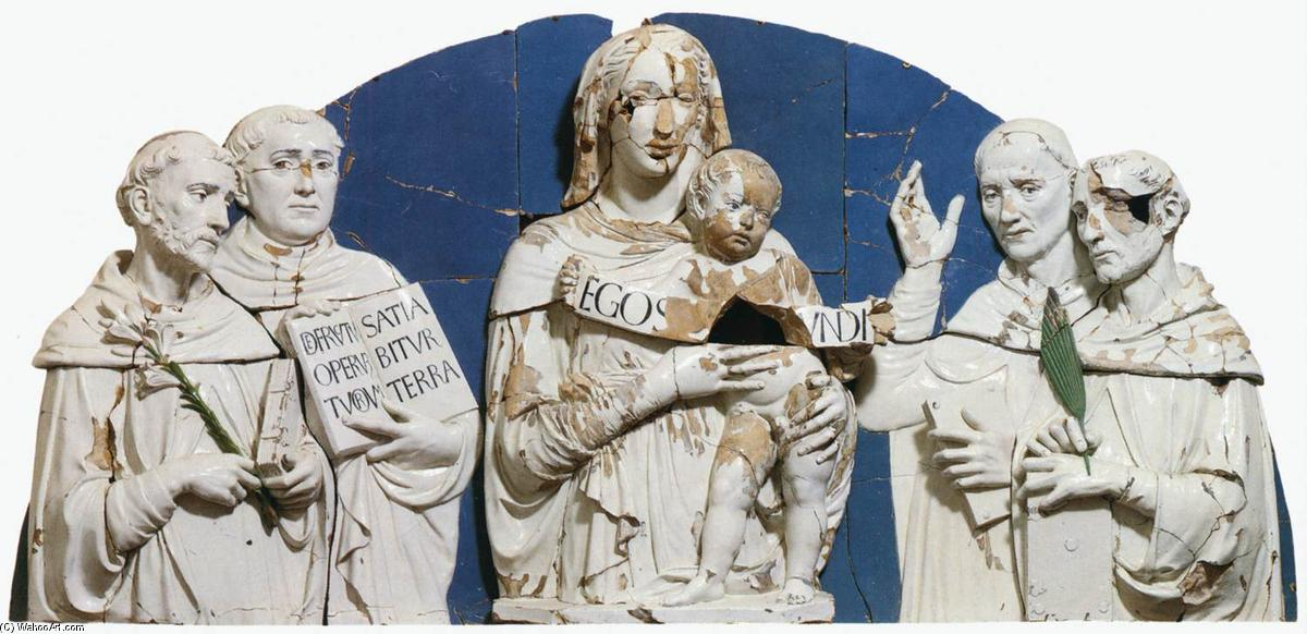 Madonna and Child between Saints, Terracotta by Luca Della Robbia (1399-1483, Italy)