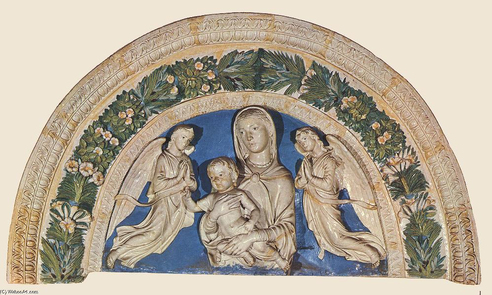 Madonna with Child and Angels, Terracotta by Luca Della Robbia (1399-1482, Italy)